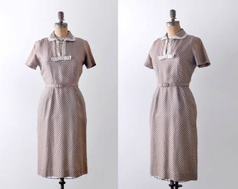 50 brown bow dress. tan. 1950's collared dress. sheath. s. m. polka dot.