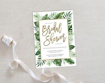 Bridal Shower Invitation Template | Editable Invitation Printable | Wedding Shower Palm Leaf Invite | EDN 5486