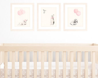 Baby Girl Nursery Decor, Set of 3 8x10 / A4 Art Prints, Light Pink Shabby Chic Decor Wall art, Animal Watercolour Illustrations