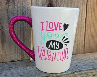 valentine's day mug, valentine's gift for her, love mug, I love you mug, I love you gift, glitter mug, glitter dip mug, friend gift