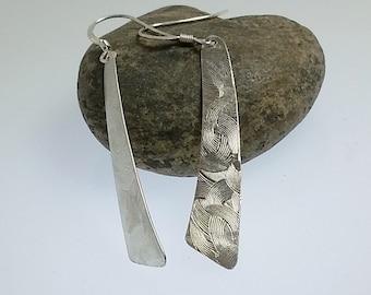 Long Silver Earrings, Triangle Earrings, Recycled Silver Earrings, Textured Silver Dangles, Fan Design, Gift for Her, Christmas Gift