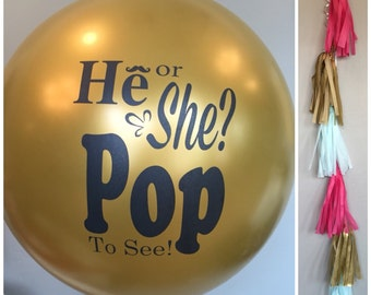 Gold Gender Reveal Balloon with Tassels, Gender Reveal Balloon, He or She Balloon, Gold Gender Reveal, Boy or Girl