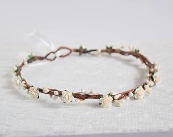 Ivory Rose & Berry Flower Crown, floral crown, winter wedding, bridesmaid flower crown, flowergirl garland, wedding flower crown; JULIET