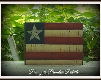 Americana Flag Wood Shelf Sitter Block Summer Home Decor