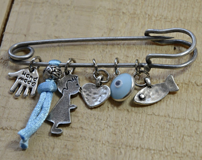 Blue Keepsake Brooch Baby Safety Pin with Protection Charms - Gift for New Baby