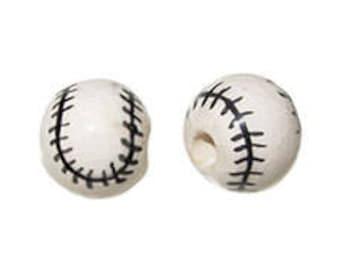 10pc 13mm Ceramic Baseball Sport Beads, Team sports Beads with large hole, ceramic handpainted baseball beads - DS18-10