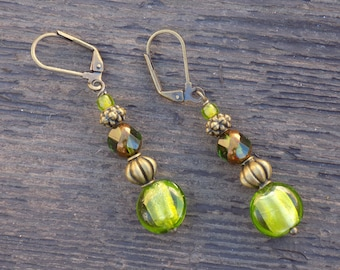 Green glass earrings, Black Friday/Cyber Monday free shipping