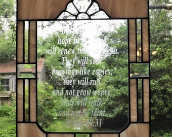 Stained Glass Etched Scripture Panel