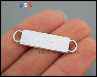 1 Silver BLANK Stamping CONNECTOR Charm - 32mm Rectangle Double Sided Blank Stamp Link Charms - Instant Ship - USA Discount Charm 6066