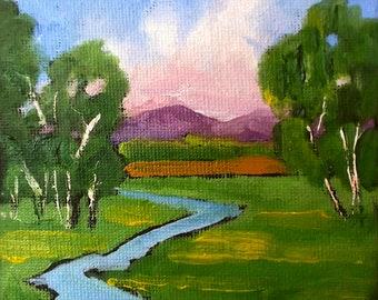 Miniature Painting 4x4  Impressionist Oil Plein Air California Field Pasture Stream Landscape Lynne French Art