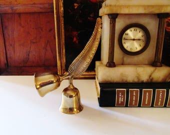 Vintage Feather Double Brass Bell, Home Office Decor, Dinner Bell, Boho Chic Decor, Wedding Bells, Hollywood Regency Decor