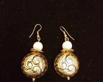 Gold Finish and Jade Green Earrings or Gold Finish Engraved and White Earrings