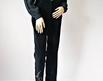 Vintage Corduroy Jeans Velour 1990's Black Gold Embroidered Straight Leg Dress Slacks Size 6