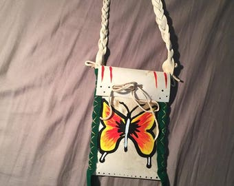 Native American Made Butterfly Parfleche bag Rawhide  medicine bag deer pow wow regalia