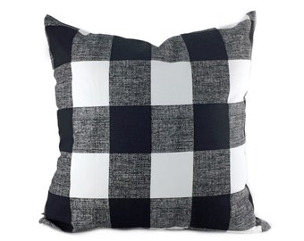Plaid/Buffalo Check Large Anderson Black and White Throw Pillow Cover, 20x20, 22x22, 24x24, 26x26, 14x20 Toss Pillow Case