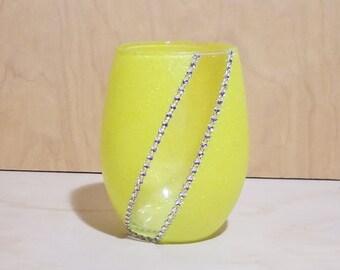 Glitter & Bling Stemless Wine Glass - Glittered Wine Glass - Customized Wine Glass - Rhinestone