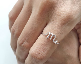 Initial m Ring, Bridesmaids Gifts,  Silver Initial Ring, Rose Gold Initial Rings, Personalised Bridesmaids Gifts, Custom Ring, Letter Ring