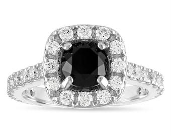 2 Carat Black Diamond Engagement Ring, Black Diamond Wedding Ring, Halo Engagement Ring, 14k White Gold Unique Handmade Certified