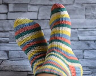 Colorful striped wool socks, knit socks for women, winter bed socks, reinforced heel, ankle socks, house slippers for girlfriend