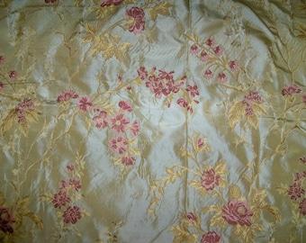 SILK LOOM French ROMANTIQUE Silk Damask Brocade Lampas Fabric 10 Yards Gold Rose Pink