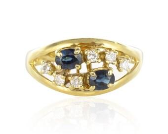 Ring yellow Sapphire gold diamonds