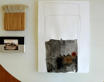Original abstract art ink drawing, modern, nature, ink art, minimal art, structure, block, abstract art, abstract ink art by Cristina Ripper