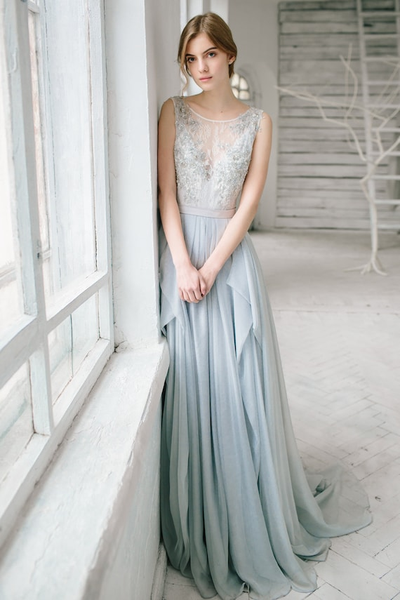 Silver grey wedding dress // Lobelia / Silk bridal gown open