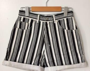 Women's High-Waist Striped Denim Shorts Size 27