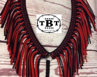 Fringe breast collar, horse tack, red and black horse tack, paracord breast collar, breast collar, custom tack, paracord tack, braided tack
