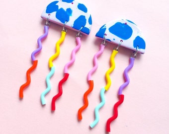 jellyfish earrings - blues and pink blues with rainbow