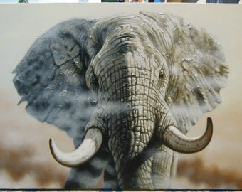 "Elephant painting oil painting on canvas 32""X48"""