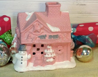 Shabby Pink Christmas Cottage Toy Shop Tealight Candle Holder, Lighted Christmas House, Christmas Village