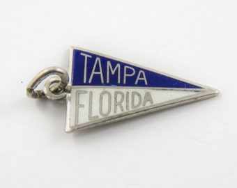 Enameled Tampa Florida School Flag Sterling Silver Charm or Pendant.