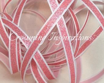 3/8 Pink Glitter on White  US Designer Ribbon