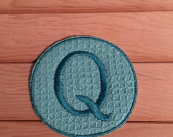 Teal Iron-On Monogram, Embroidery Letter Q