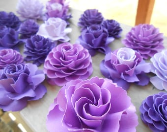 Paper Flowers, Cake, Table Decorations. CHOOSE YOUR COLORS. Set of 20. Weddings, Showers, Paper Flowers, Decoration