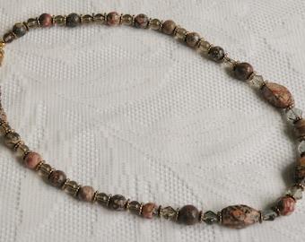 Leopardskin Jasper and Smoky Glass Necklace