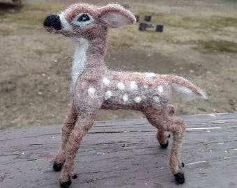 OOAK felted deer, felted fawn, felted whitetail 100% natural wool