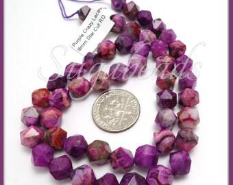 24 Star Cut Purple Crazy Lace Agate Beads, 8mm Crazy Lace Agate, 8mm Agate Gemstones, Purple Agate Beads, SBGB46