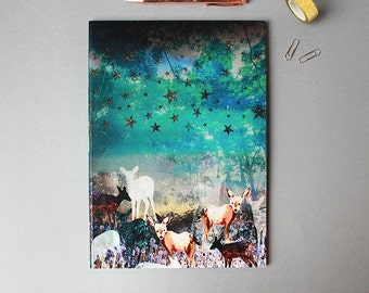 A4 Deer Enchanted Forest Notebook with lined pages