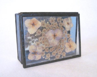 dried gypsophila + the violas, vintage Jewelry Box for treasured mementos - pressed floral keepsake, Stained Glass + Botanical Flowers