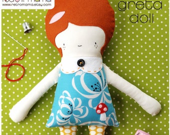 Doll Pattern - Greta Doll PDF Sewing Pattern - Girl Doll Sewing Pattern Instant Download