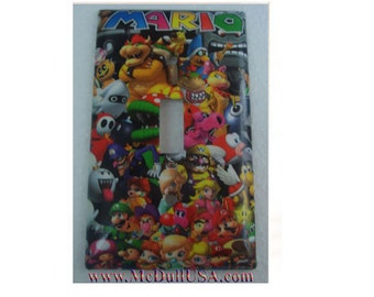 Super Mario All Characters Toggle, Rocker Light Switch U0026 Power Duplex  Outlet Plate Cover Home