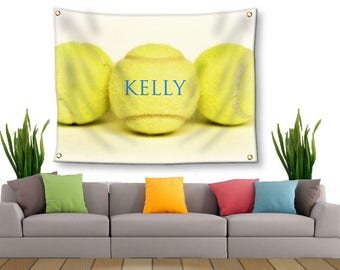 Tennis Tapestry-Personalized Tennis-Tapestry with Grommets-Custom Wall Decor-Tennis Wall Decor-Custom Sports Decor-Tapestry with Your Name