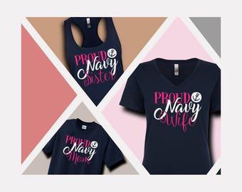 Feminine Proud Navy Family Shirts