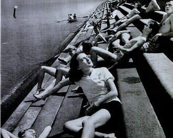 1944 Life Magazine Photo Louisiana Lake Pontchartrain Sea Wall Sun Seekers Large 10x14 Black & White Photograph Print Sunbather Coastal Art