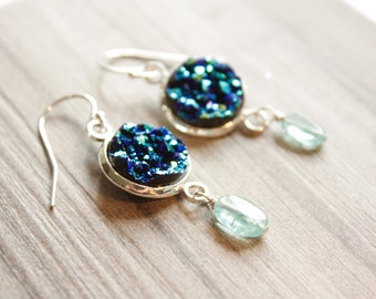 Druzy Stone Earrings, Druzy and Apatite Blue Stones, Nautical Earrings, Ready to Ship