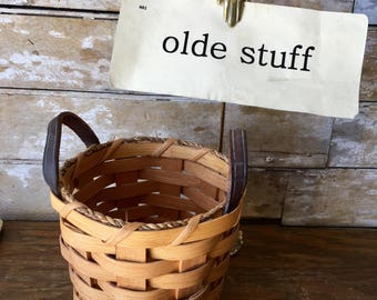 Vintage Handmade Woven Basket With Leather Handles Sweet