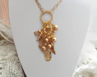 Gold Dragonfly Necklace Golden Charm Necklace Victorian Style Gift for Her