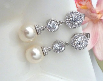 Wedding Earrings Bridal Earrings Cream Ivory Round Pearl with White Gold CZ and White Gold Round Cubic Zirocnia Post Earrings